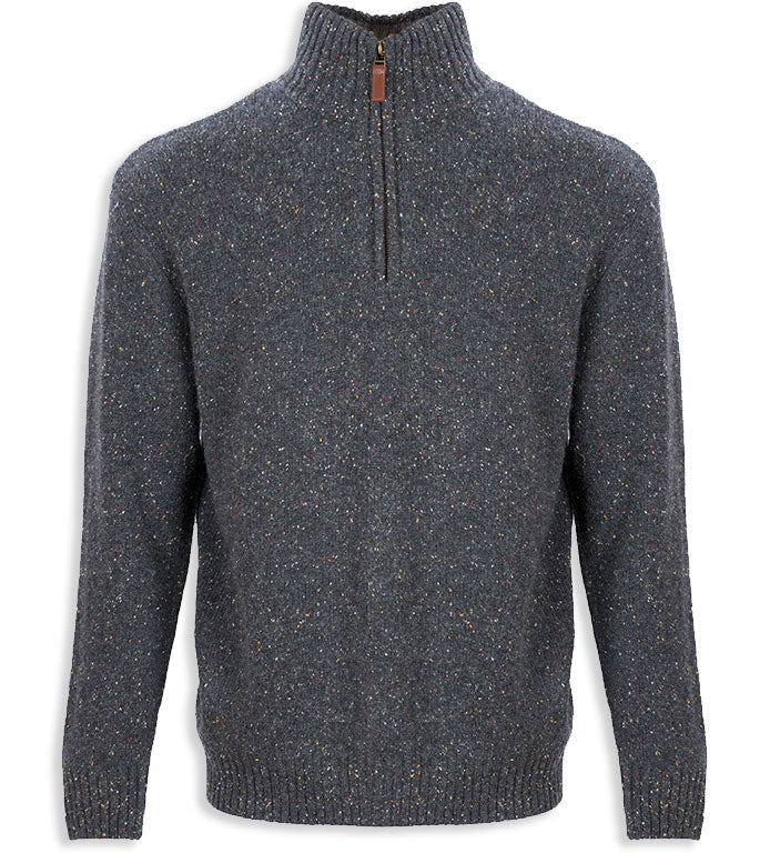 Black Aran Wool Zip Neck Sweater