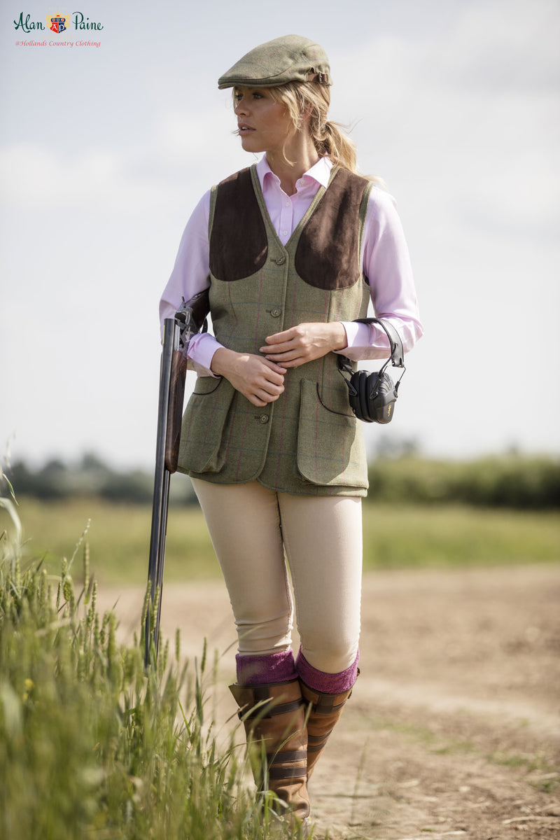 walking in a field lady wearing Alan Paine Ladies Tweed Shooting Waistcoat | Juniper