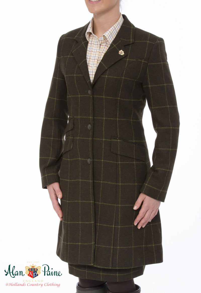 Alan Paine Combrook Mid-Length Tweed Coat | Avocado - Hollands Country Clothing
