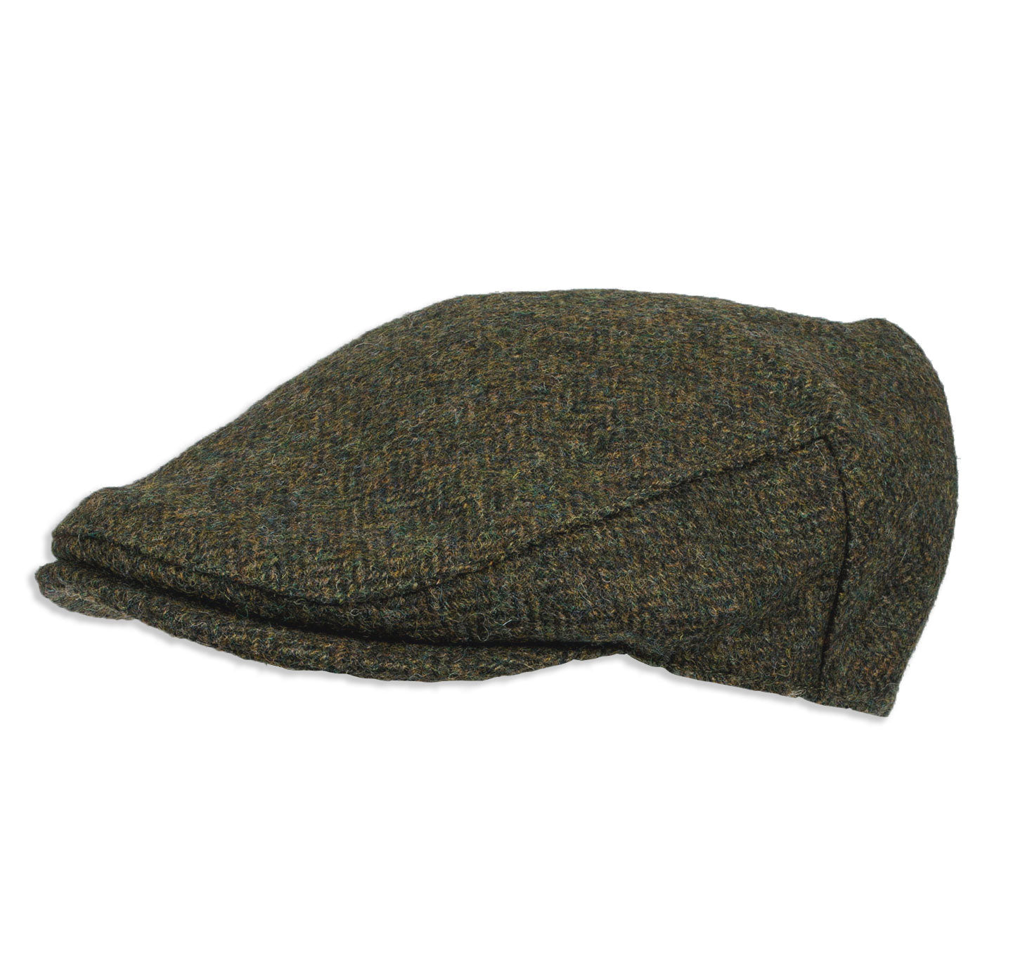 front peak Chapman Green Herringbone Tweed Flat Cap