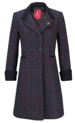 with cuffs down Jack Murphy Isabella Tweed Coat | Check Navy