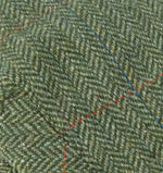 Green Herringbone Lambswool tweed with over check in Red and Blue