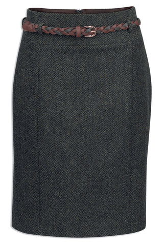 Jack Murphy Savannah Tweed Skirt- Winter Rust Herringbone