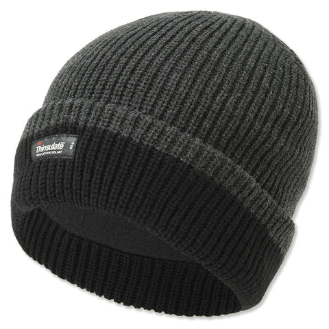 Thinsulate Chunky Knit Beanie Cap | Black/Grey & Grey/Black