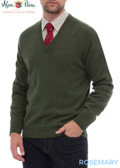 man wearing Alan Paine Burford Vee Neck Pullover