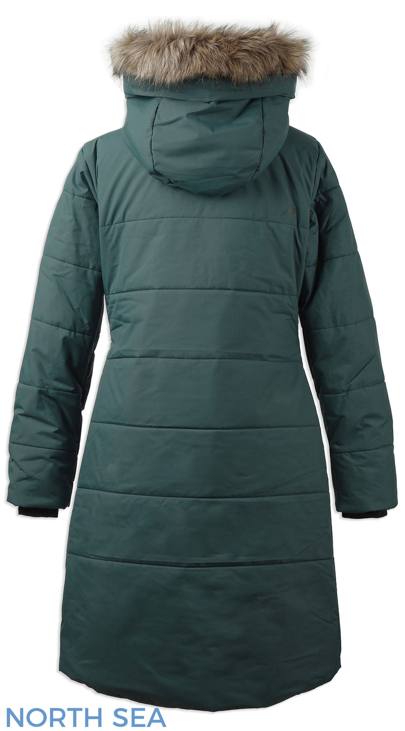 back view ladies green parka coat