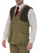 Alan Paine Rutland Tweed Waistcoat | Lichen with shoulder patches