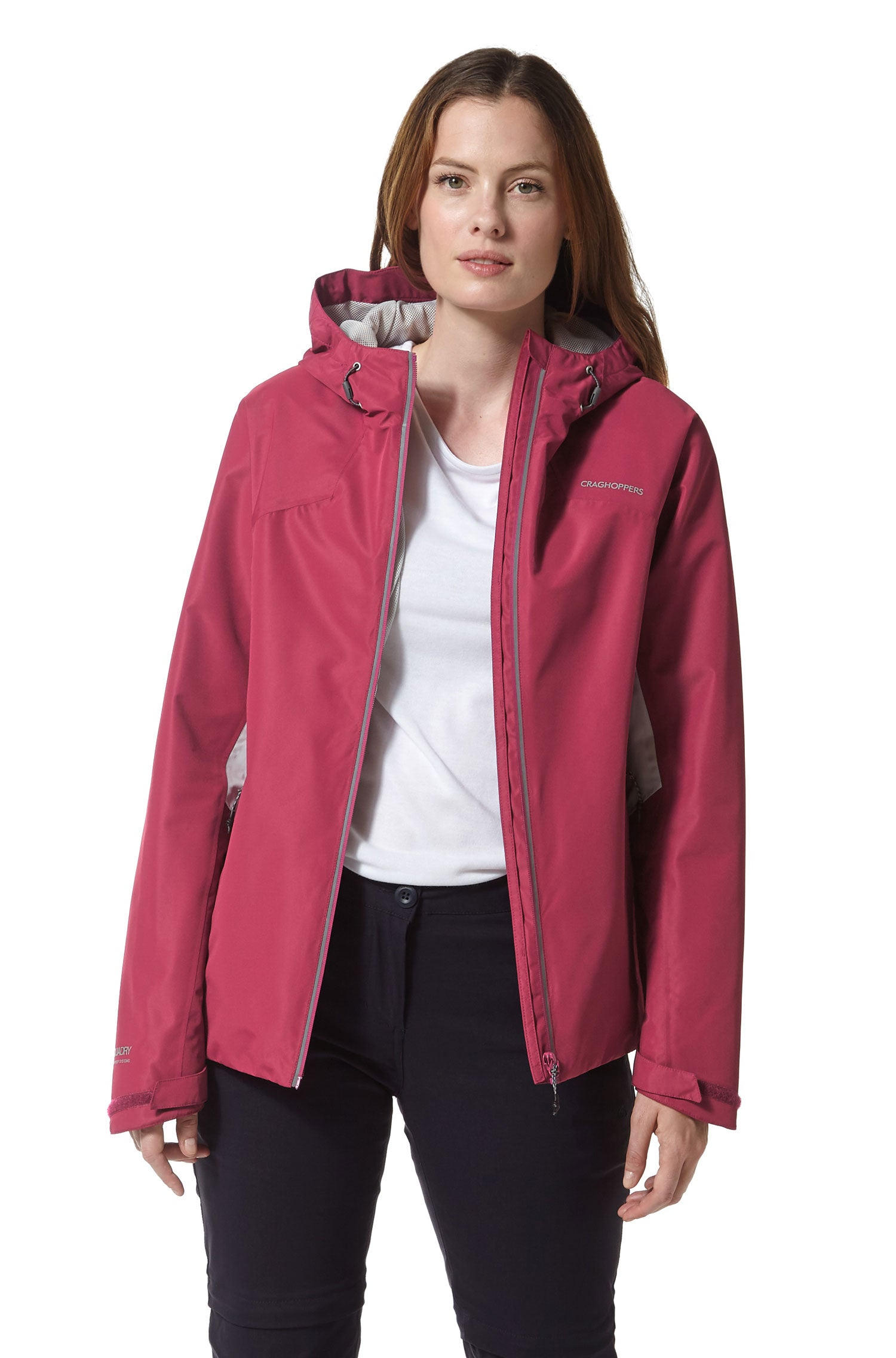 zipped front open Craghoppers Horizon Waterproof Jacket | Amalfi Rose