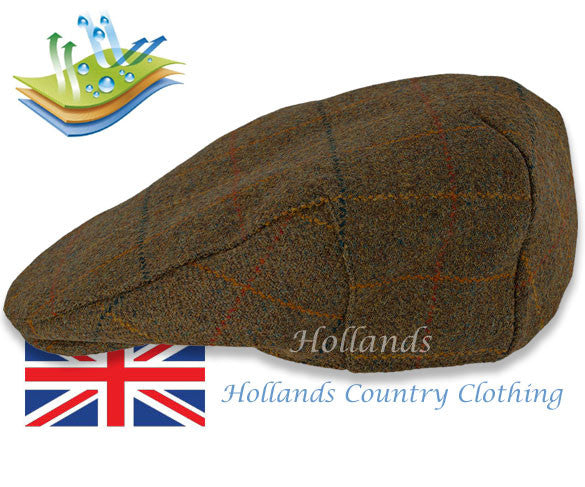 men's british flat cap Heather Kinloch Waterproof Tweed Flat Cap Brown Check