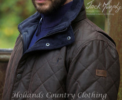 collar detail Jack Murphy Dara Men's Quilted Waxed Jacket