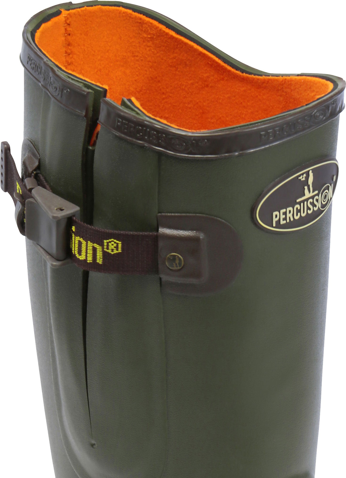 orange lining in neoprene green shooting wellingtons