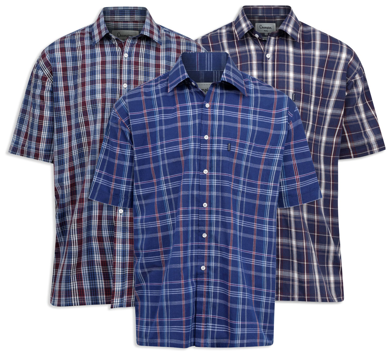 39da4f7b8ce65 Champion Whitby Cotton Short Sleeved Shirt in blue and navy check pattern
