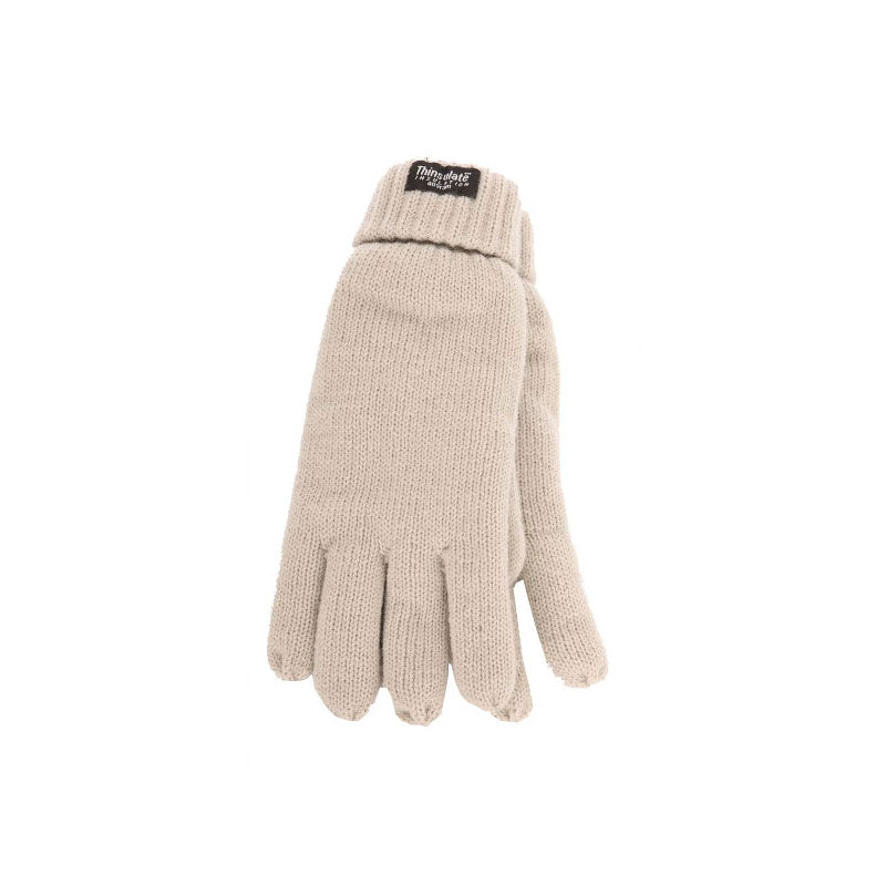 Snow White Knitted Gloves with Thinsulate Lining - Ladies  Fit