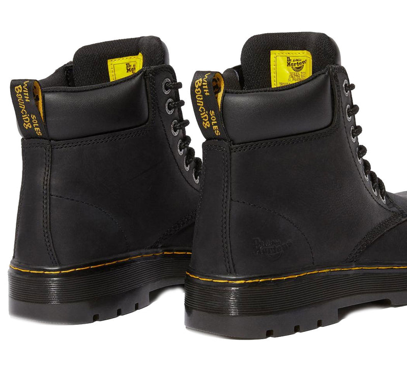 Black Back View Dr Martens Winch Steel Toe Boots