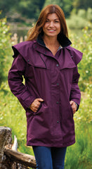 lady wearing plum Ladies' Three-Quarter Length Waterproof Coat Windsor