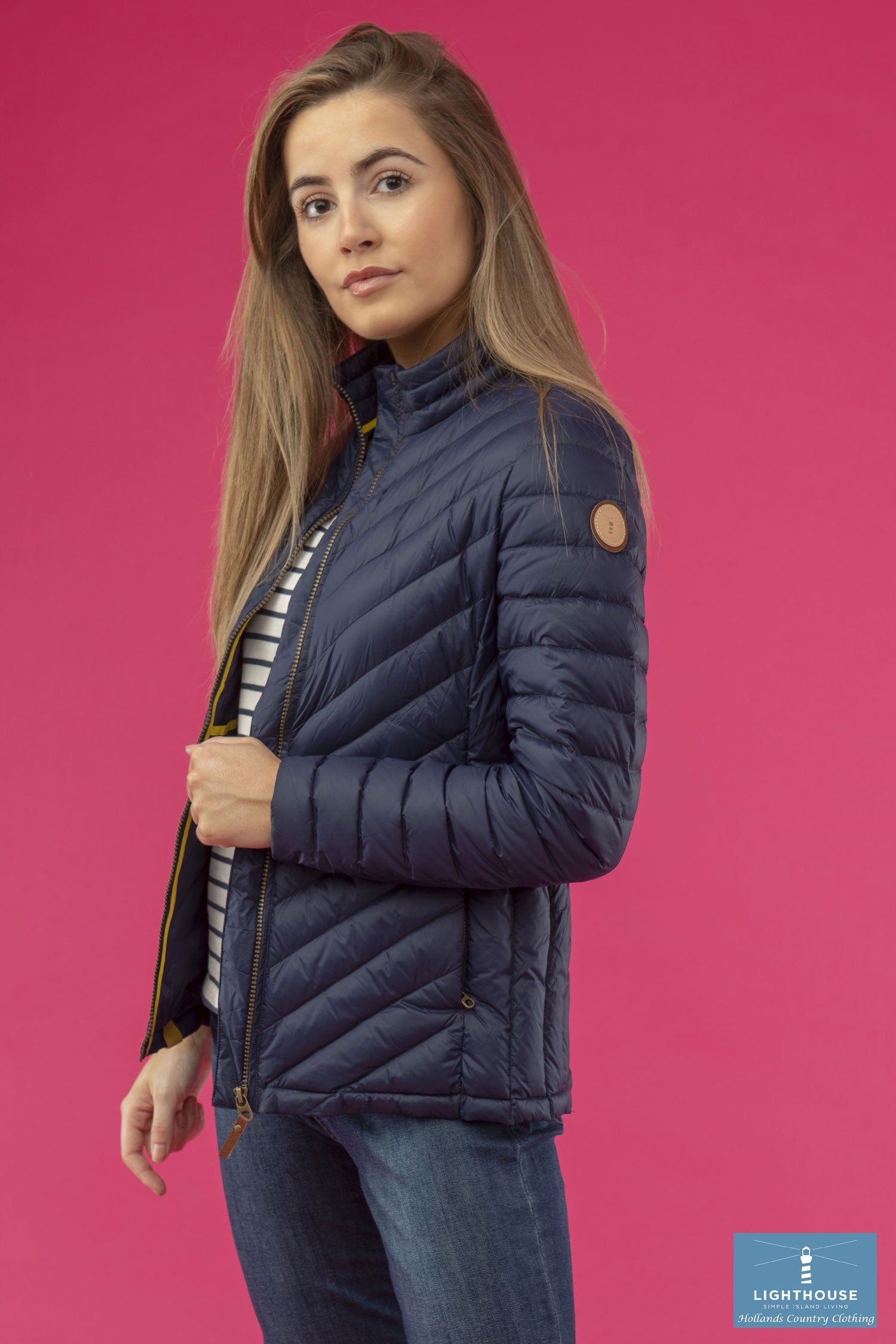 side View Ladies Lighthouse Lara Down Jacket Navy