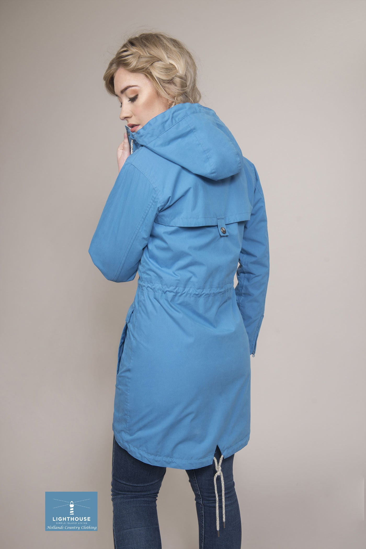 three quarter length Blue Sail Paige Ladies Mid Length Waterproof by Lighthouse