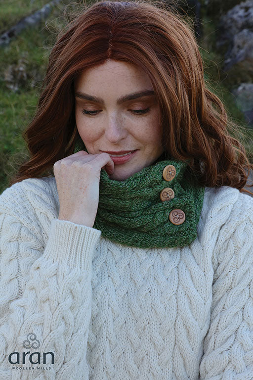 Supersoft Merino Wool Button Snood Scarf by Aran Woollen Mills