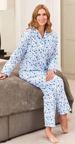 Lightly brushed winceyette floral print pyjamas