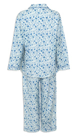 back view Champion Ladies Eleanor Pyjamas pure cotton floral print pink and blue