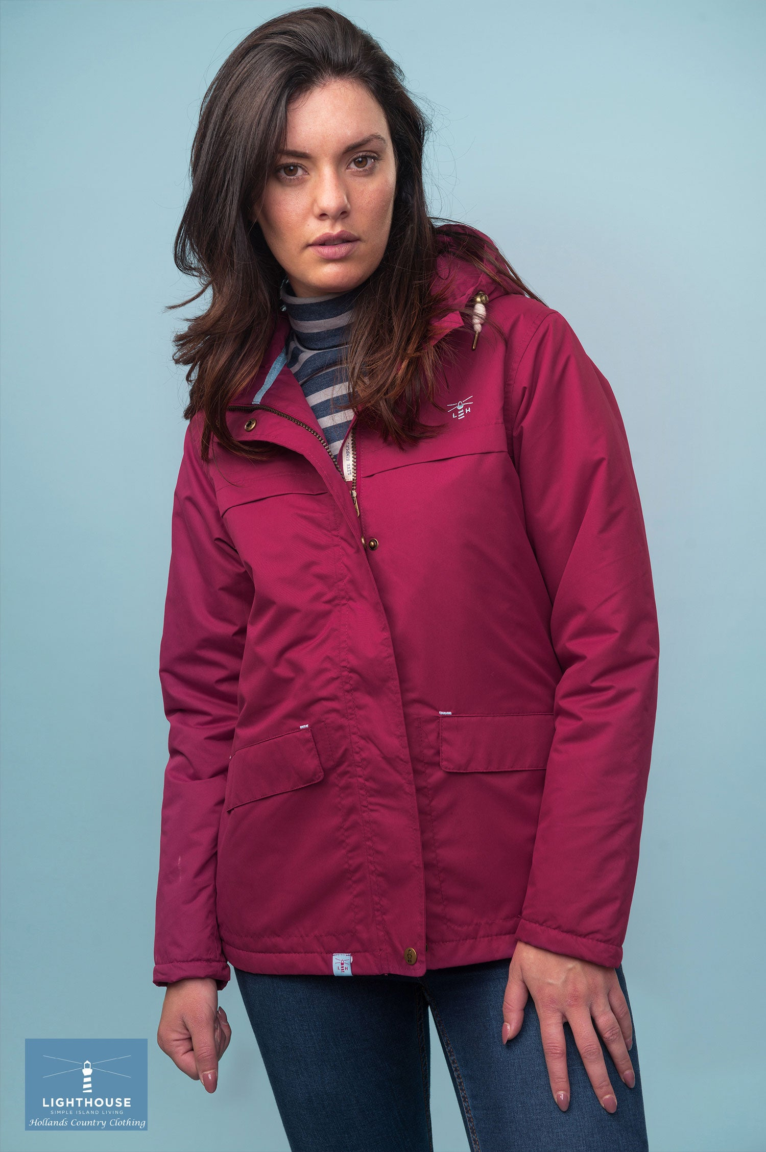 berry coloured Lighthouse Beaufort Waterproot Jacket in yellow, navy and berry