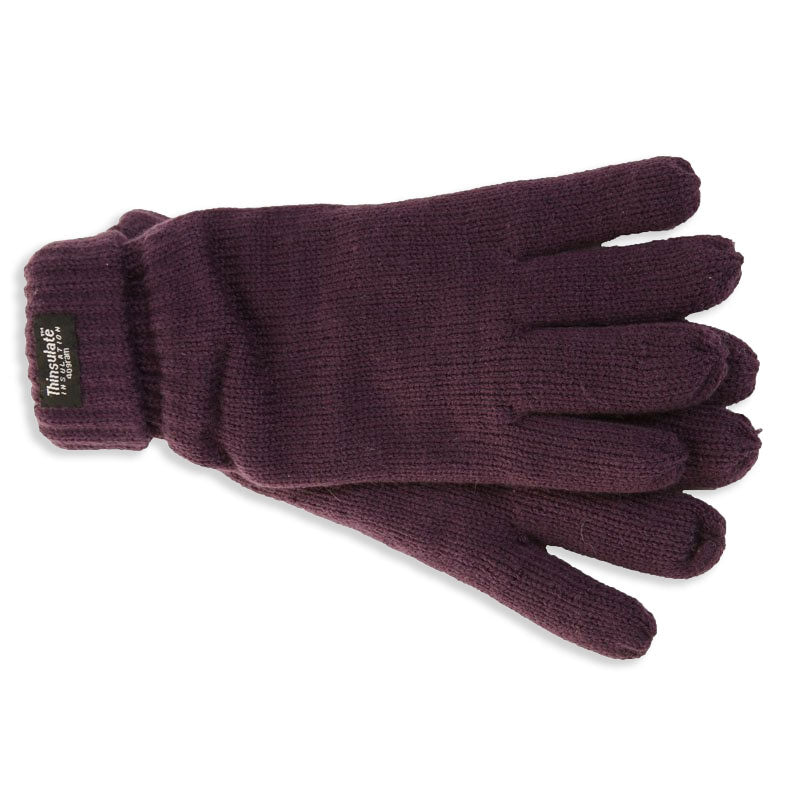 Plum Knitted Gloves with Thinsulate Lining - Ladies  Fit