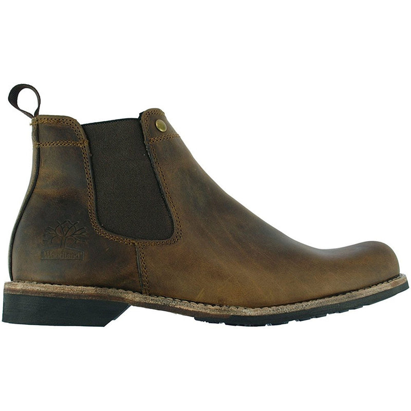 side view Woodland Crazy Horse Leather Chelsea Pull On Boot