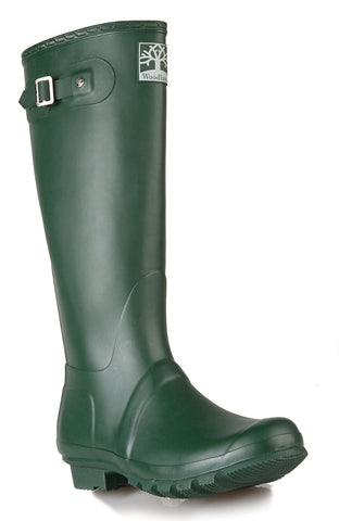 Woodland Green Rubber Wellingtons with side buckle