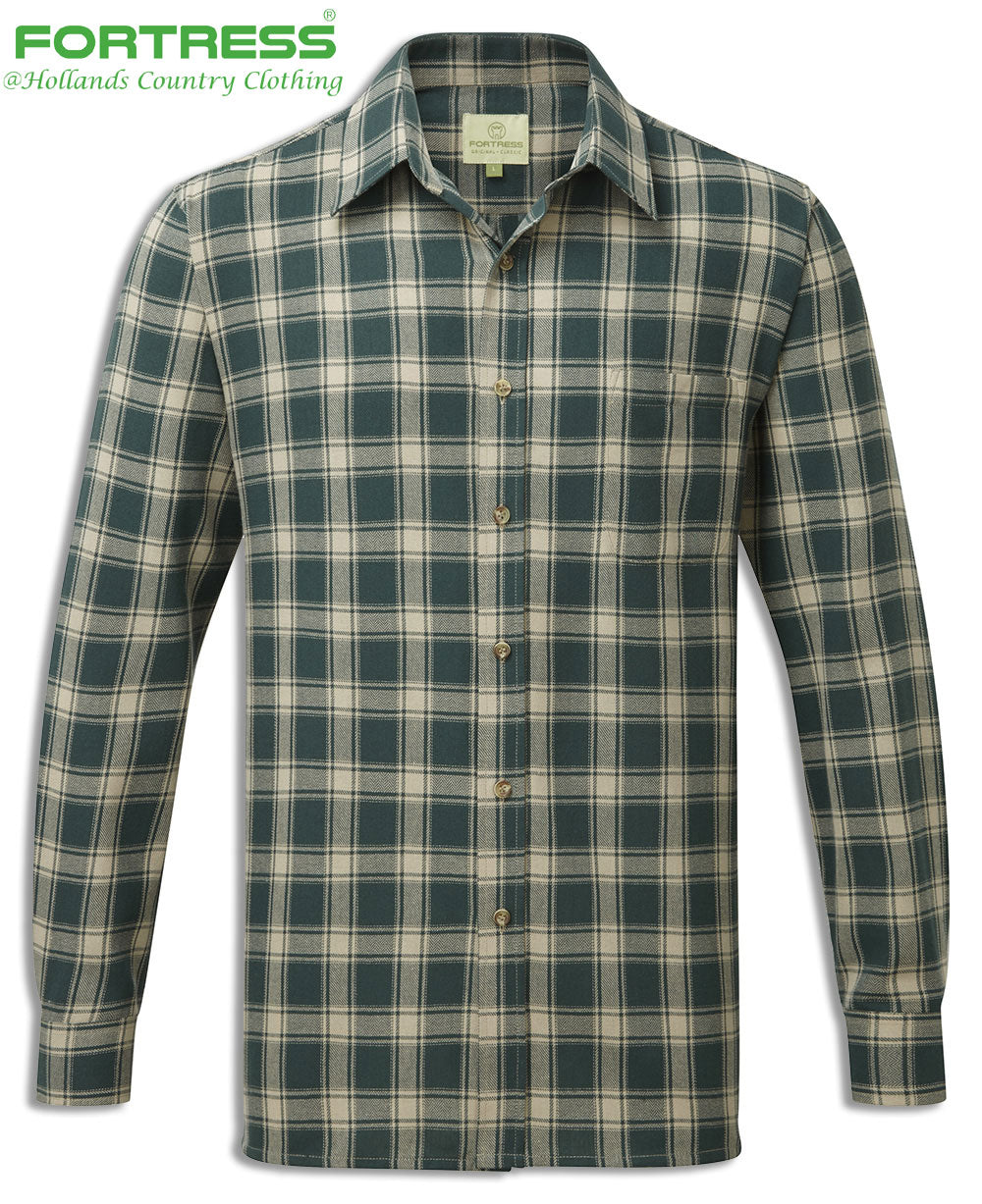 green Fortress Worcester Work Shirt green blue tartan check pattern