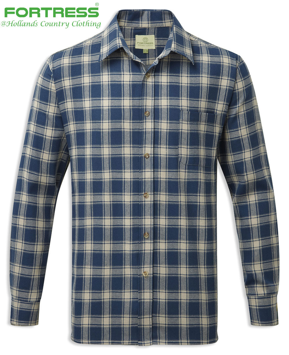 blue Fortress Worcester Work Shirt green blue tartan check pattern