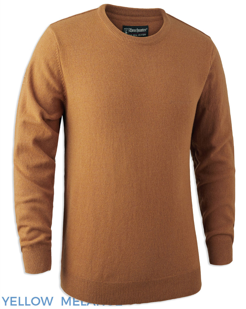 Yellow Melange Deerhunter Brighton Lambswool Knit O-Neck Jumper