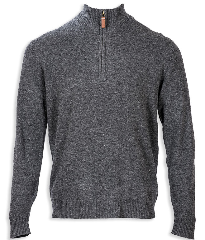 Grey Aran Merino Wool Zip Neck Sweater