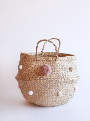 Load image into Gallery viewer, Pink Pom Pom Basket