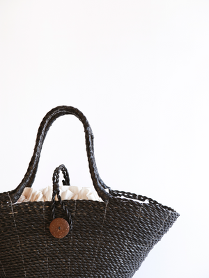Woven Grass Beach Tote in Black