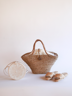 Woven Grass Beach Tote in Natural