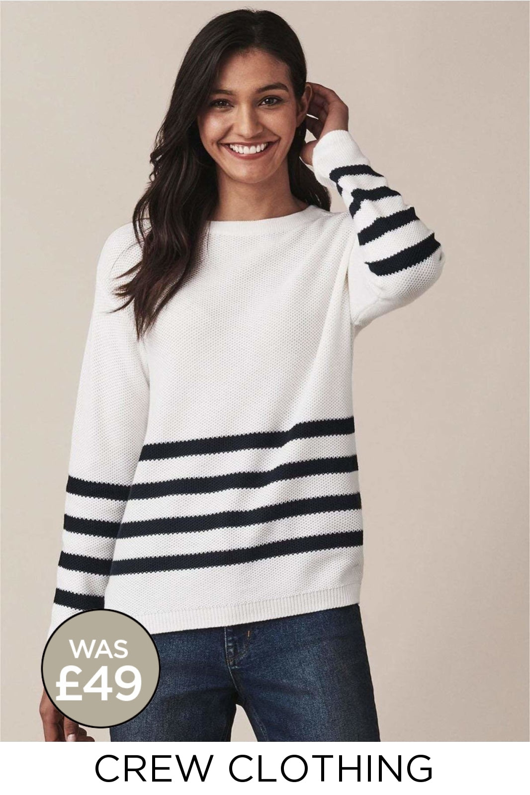 Crew Clothing Crew Clothing White Navy Stripe 'Austel' Jumper | Secret Label