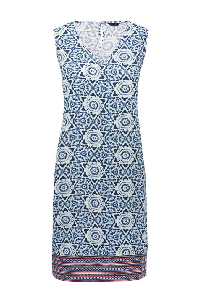 Blue Tile Print Shift Dress