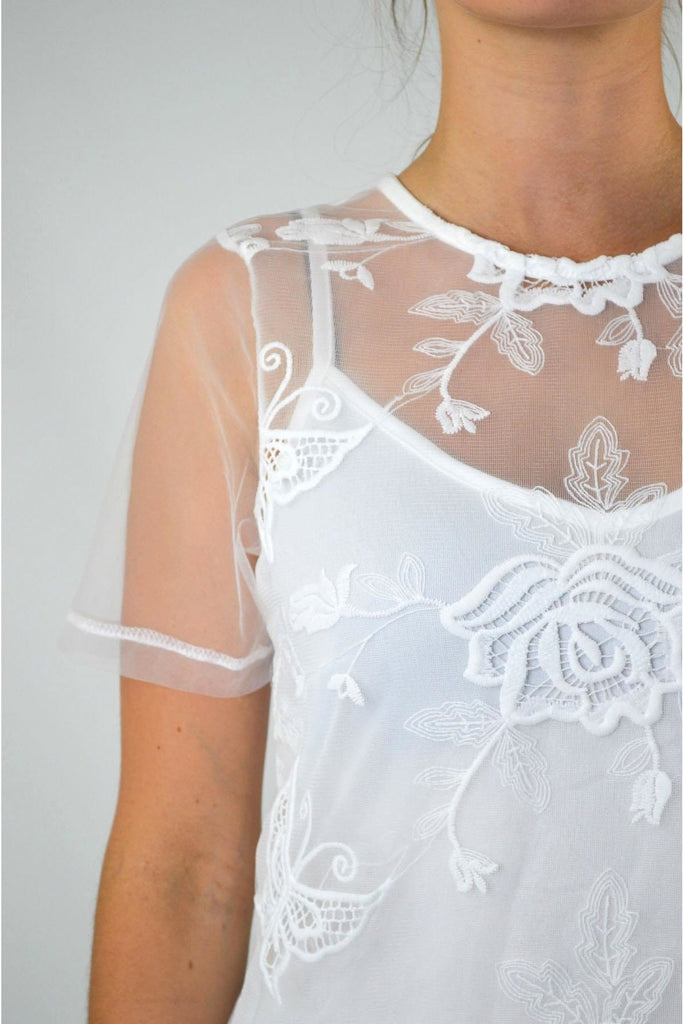 White Embroidered Layered Top