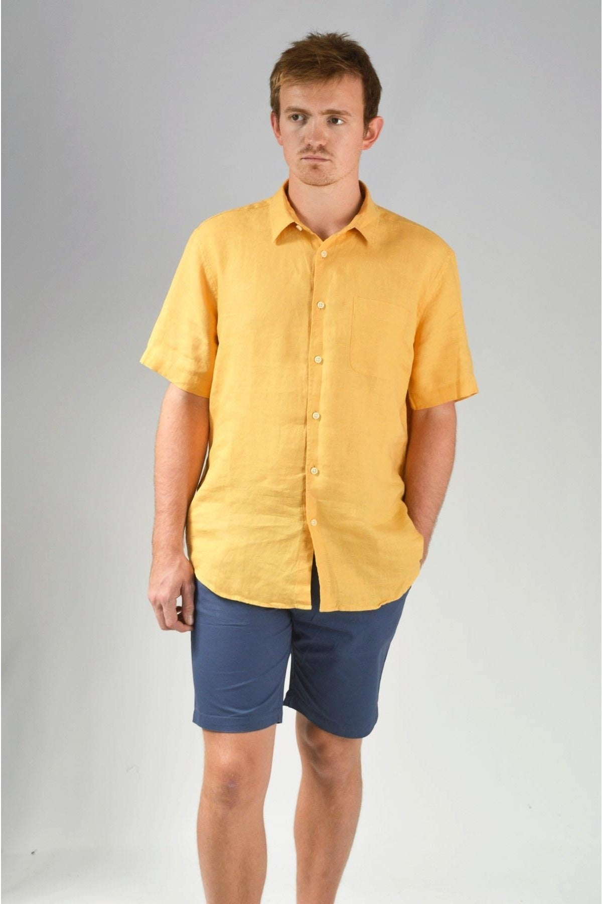 Marks & Spencer Mens Short Sleeve Linen Shirt | XXL / Ochre Secret Label
