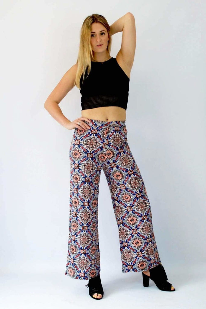 Blue Rust Red Tile Print Trousers
