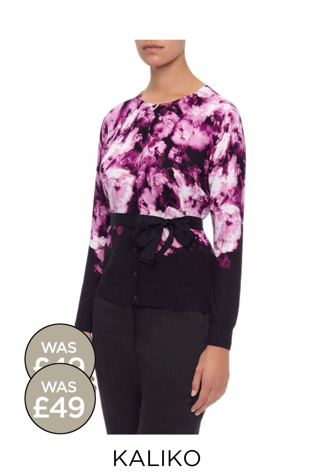 KALIKO KALIKO Black/Pink/Purple Floral Tie Waist Cardigan | 8 Secret Label