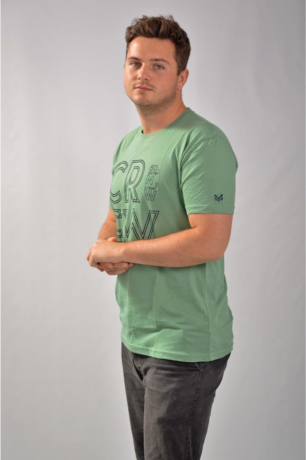 Crew Clothing Mens Crew Logo T Shirts | S / Green (Degrees) Secret Label