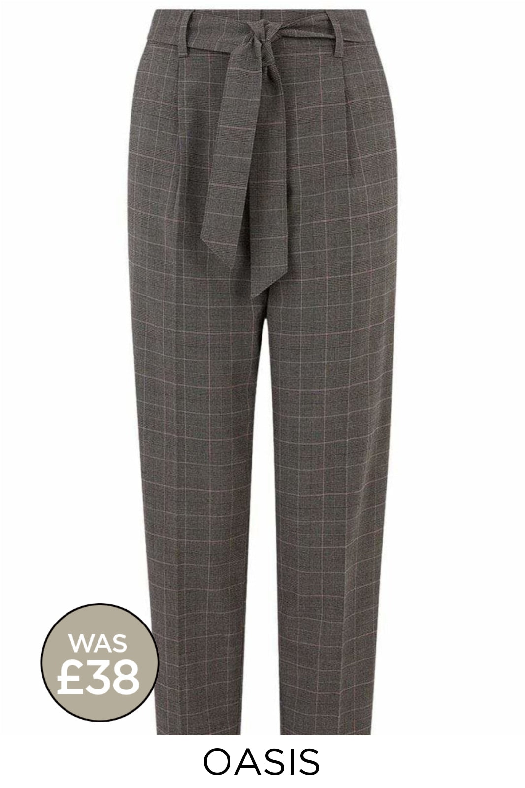 Oasis Ex Oasis Grey Check Capri Peg Trousers | 6 Secret Label