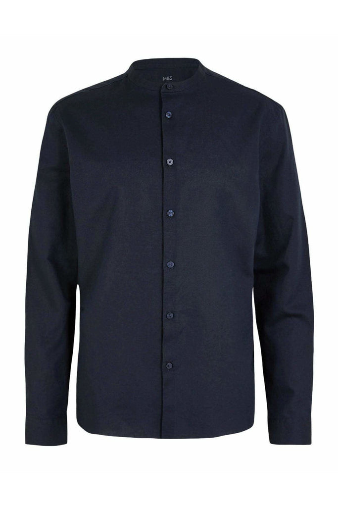 Mens Grandad Collar Linen Shirt