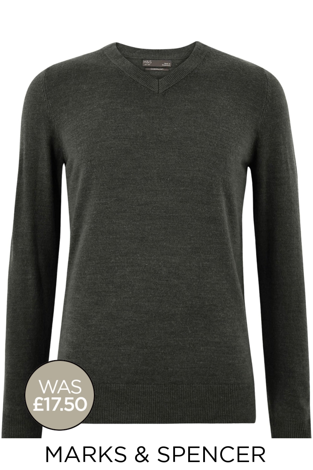 Marks & Spencer Mens Cashmilon V Neck Jumpers | M / Black Secret Label