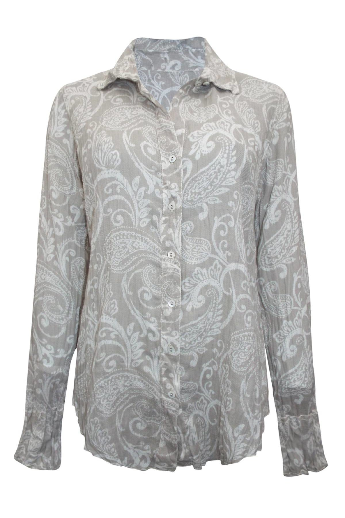 Cino New York Crinkle Cotton Floral Fitted Shirt | 10 / Stone Paisley Secret Label
