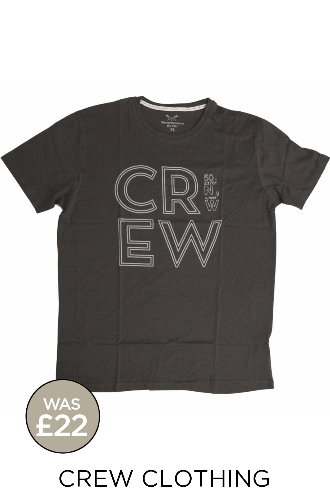 Crew Clothing Crew Clothing Mens Crew Logo T-Shirts | S / Charcoal (Degrees) Secret Label