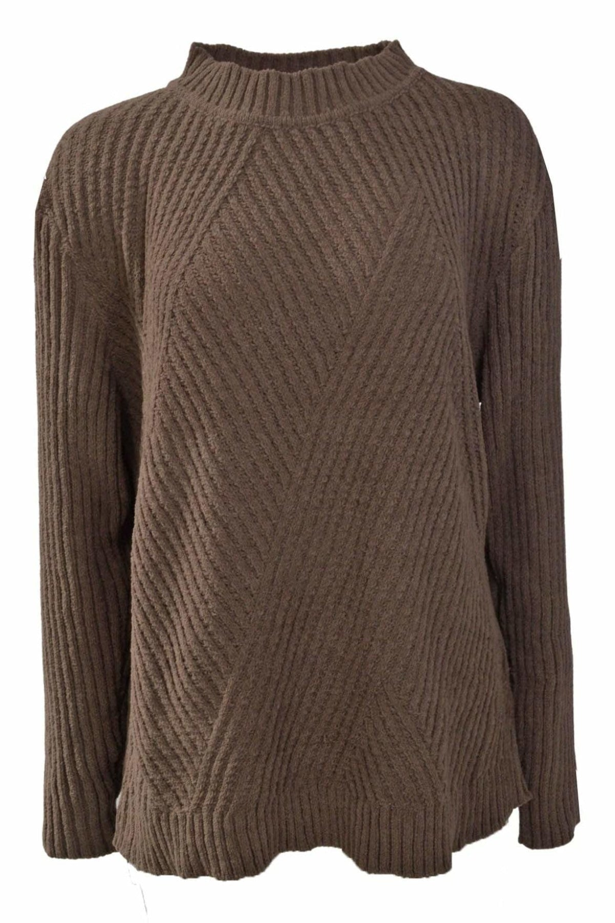 Yessica Yessica High Neck Ribbed Oversize Jumper | 2XL / Brown Secret Label