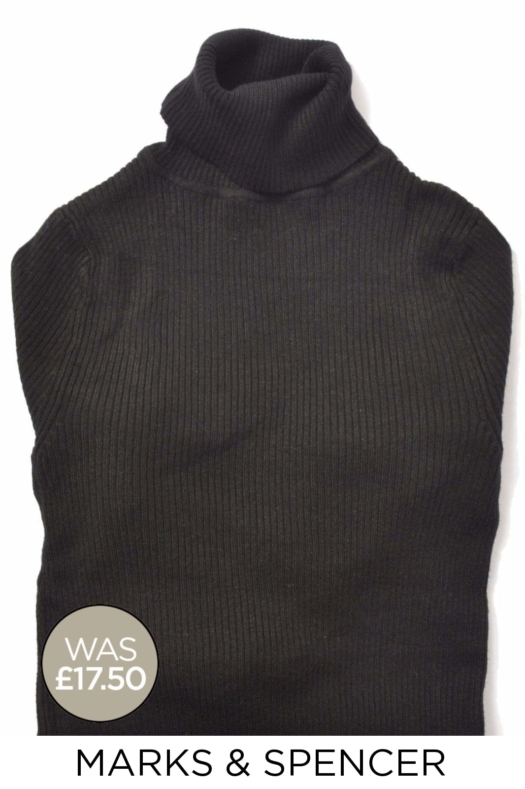 Marks & Spencer Ex M&S Ribbed Roll Neck Jumper | 22 / Black Secret Label