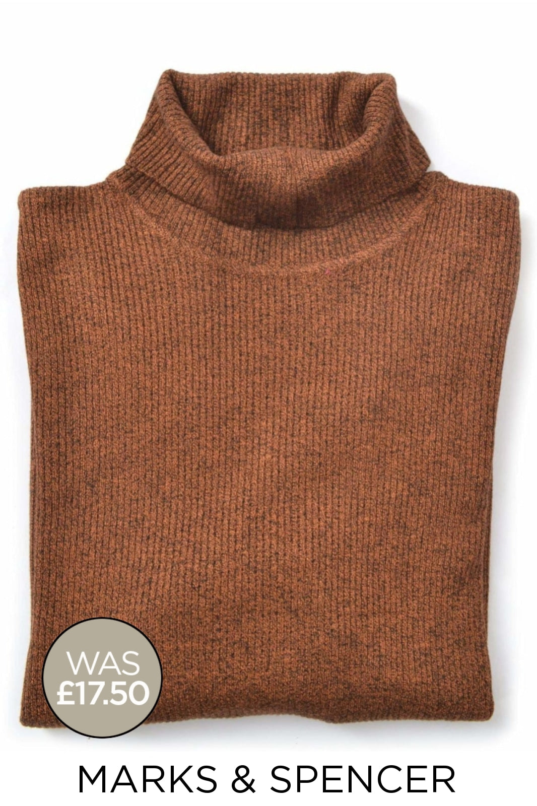 Marks & Spencer Ex M&S Ribbed Roll Neck Jumper | 8 / Brown Secret Label